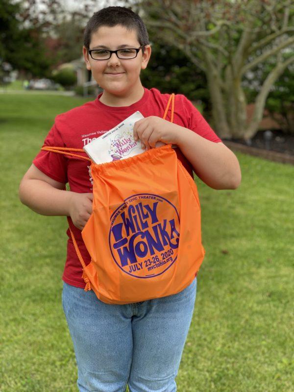2020 Willy Wonka Show Orange Pull Bag